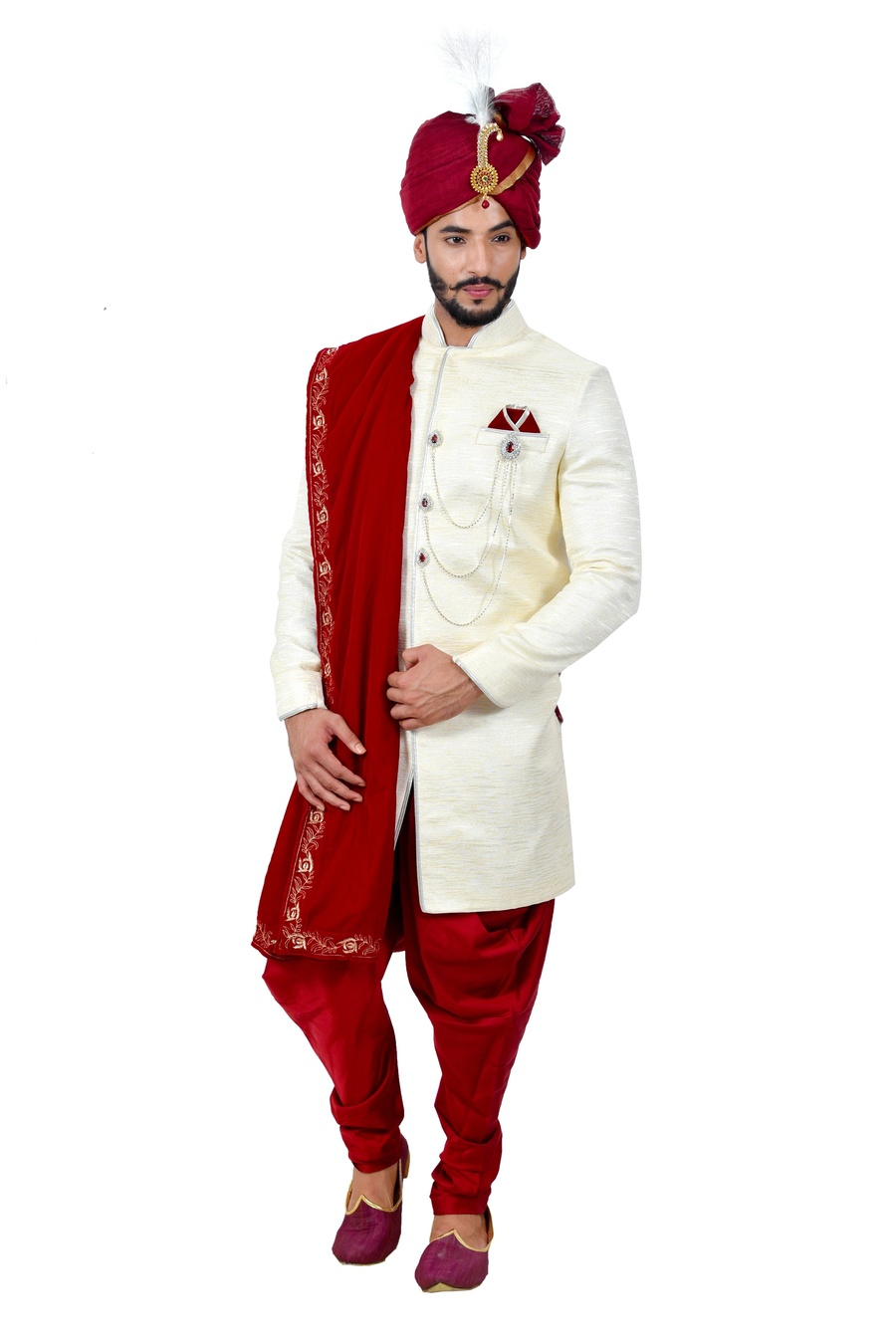 Image result for Red and Ivory Sherwani: men